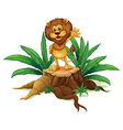 A big tree with a lion vector image vector image