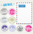 air mail stamps and envelope vector image vector image