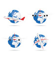 airplane with globe set vector image vector image