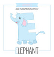 alphabet letter e and elephant vector image