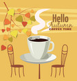 autumn landscape street cafe autumn leaves vector image