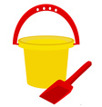 Beach toys- bucket and shovel vector image vector image