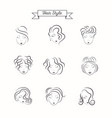 beauty hair face woman silhouette vector image vector image