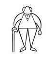 cartoon old man standing with wooden walking stick vector image