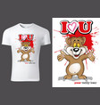 child t-shirt design with brown teddy bear vector image