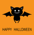 cute bat flying silhouette icon happy halloween vector image vector image