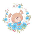 cute cartoon dog in a wreath flowers postcard vector image vector image