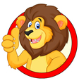 Cute cartoon lion giving thumb up vector image vector image
