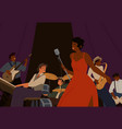 diverse jazz band with black skin cartoon female vector image vector image