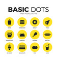 fast food flat icons set vector image vector image