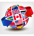 Flags of the world on a globe with an arrow vector image vector image