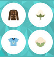 flat icon cotton set of fiber pullover cotton vector image vector image