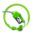 green fuel handle pump nozzle and hose with green vector image