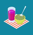 green lentil porridge and fruit juice breakfast vector image vector image