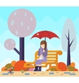 Happy girl sit bench watch birds puddles umbrella vector image vector image