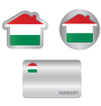 Home icon on the Hungarian flag vector image