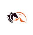 horse and mountain logo design template vector image