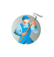 House Painter Holding Paint Roller Circle Retro vector image vector image