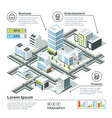 isometric 3d city map infographic vector image vector image