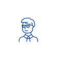 man student looking with glasses line icon concept vector image vector image