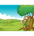 Monkey and tree vector image vector image