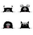 monster scary face head icon set hands paw vector image vector image