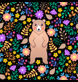 pattern with bear and flowers vector image vector image