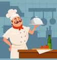 professional restaurant cook standing near wooden vector image vector image