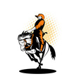 rodeo cowboy riding a bucking bronco vector image vector image