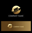 round sphere arrow business finance gold logo vector image vector image
