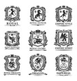royal heraldry shields heraldic animal creatures vector image