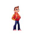 schoolboy with backpack isolated cartoon pupil vector image