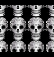 seamless pattern of metal sugar skull vector image vector image