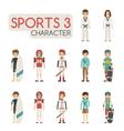 set cartoon sport characters eps10 vector image