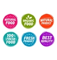 set colorful labels for food nutrition vector image vector image