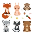 set cute woodland animals isolated on white vector image