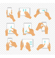 set of flat hand icons showing vector image vector image
