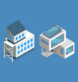 set two contemporary modern buildings isolated vector image