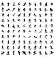 silhouette of skiers vector image vector image