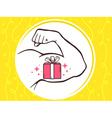 strong man hand with icon of red gift bo vector image vector image
