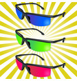three colored glasses on retro ray background vector image vector image