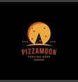vintage retro logo pizza and moon vector image vector image