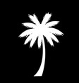 white silhouette of palm tree icon isolated on vector image vector image