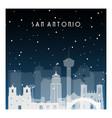 winter night in san antonio night city in flat vector image vector image