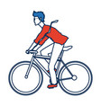 young man riding bicycle transport design vector image vector image