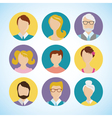 flat icon set people face avatar vector image