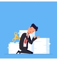 Tired businessman or manager sits near a large vector image