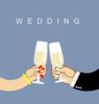 Wedding Newlyweds clink glasses bride and groom vector image