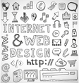 Internet and web design hand drawn doodles vector image