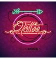 Retro Neon Tattoo Sign with Arrow vector image